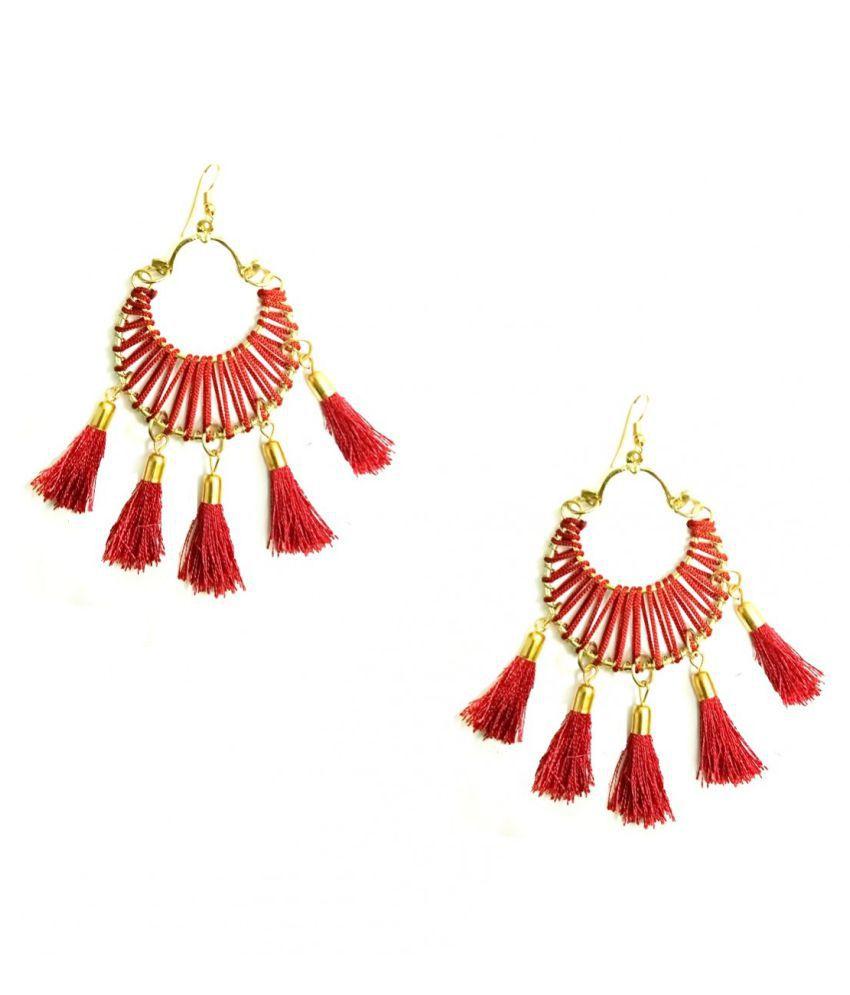 Turqueesa Round 5 Tassel Circle Hoop Style Tassel Earrings - Red