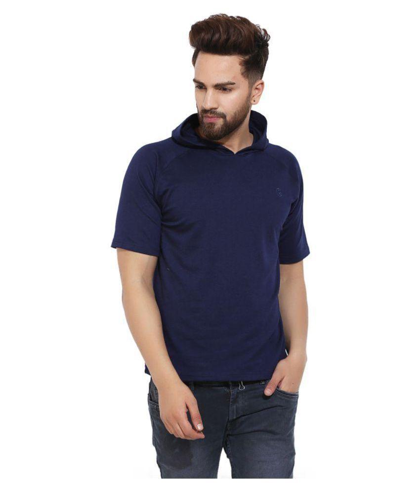 Chkokko Navy Polyester T-Shirt