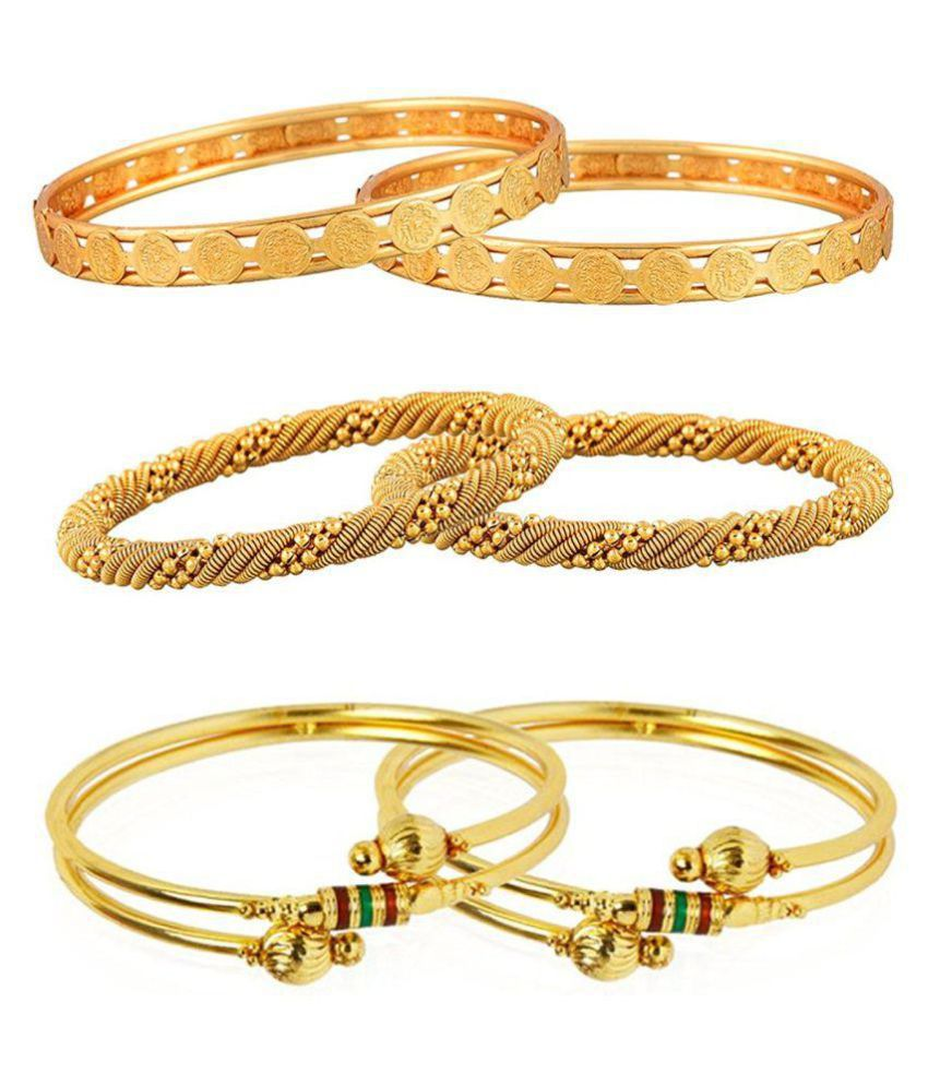 FJ STYLE GOLD PLATED PARTY WEAR BANGLES COMBO PACK