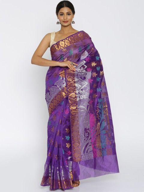 Bunkar Blue Cotton Saree