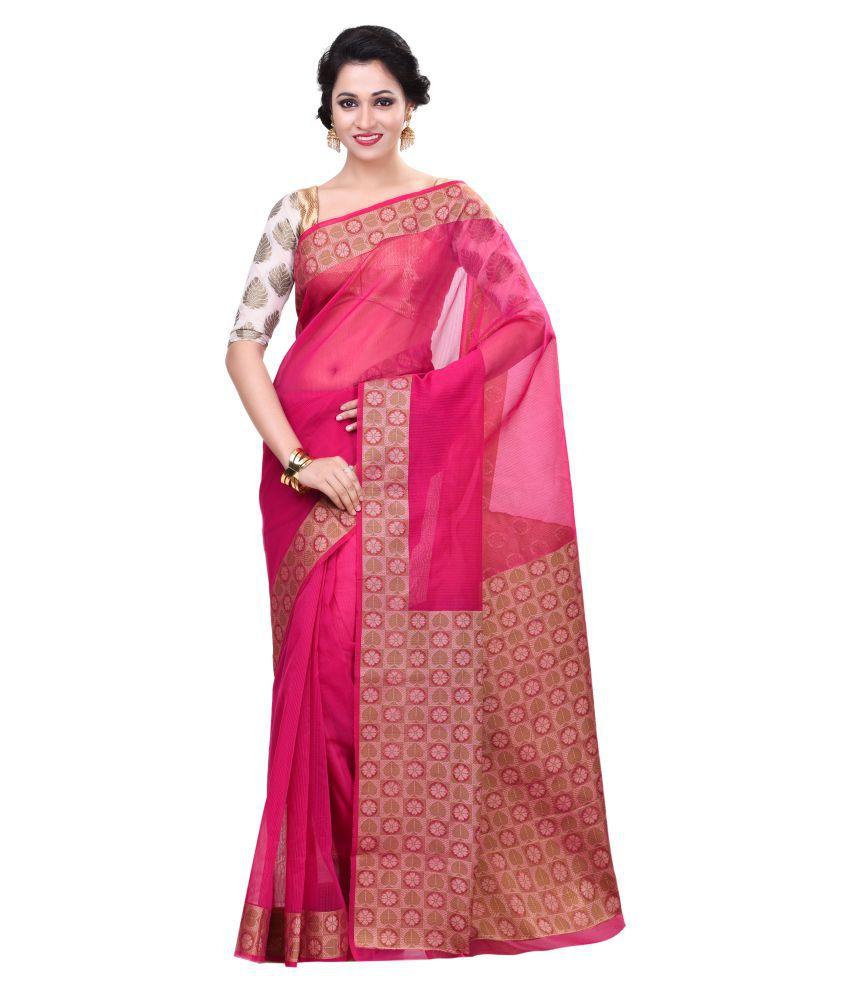 Bunkar Pink Cotton Saree