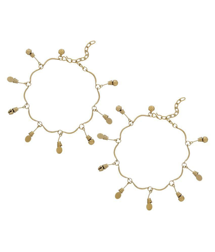 Aadita Ethnic Traditional Gold Plated Charm Anklets for Women
