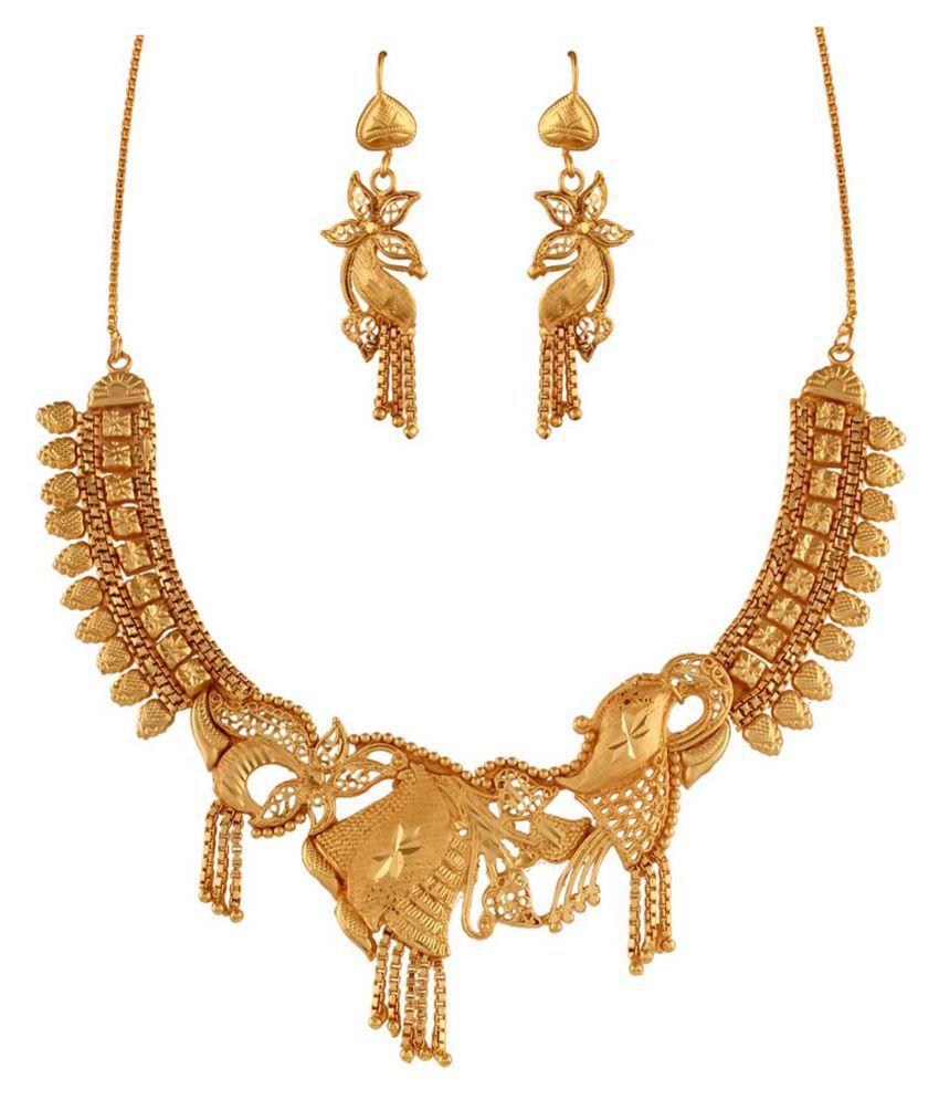 Variation Brass Gold Plating Beads Studded Gold Coloured Necklace Set