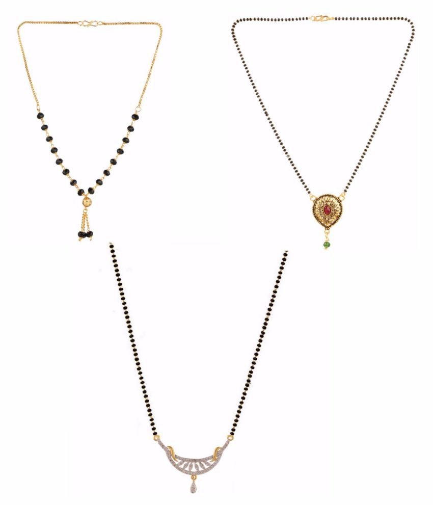 Archi Collection Designer Combo of Ethnic Traditional Gold Plated Mangalsutra Pendant with Chain for Women