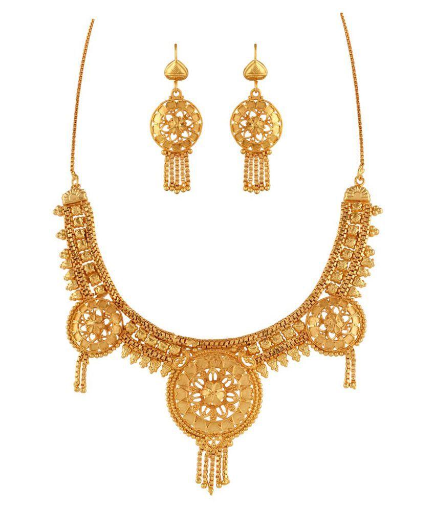 Variation Golden Brass Necklace Set