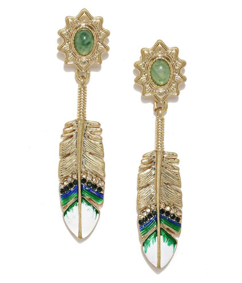 Jewel Touch Fashion Gold-Plated & Green Leaf-Shaped Drop Earrings