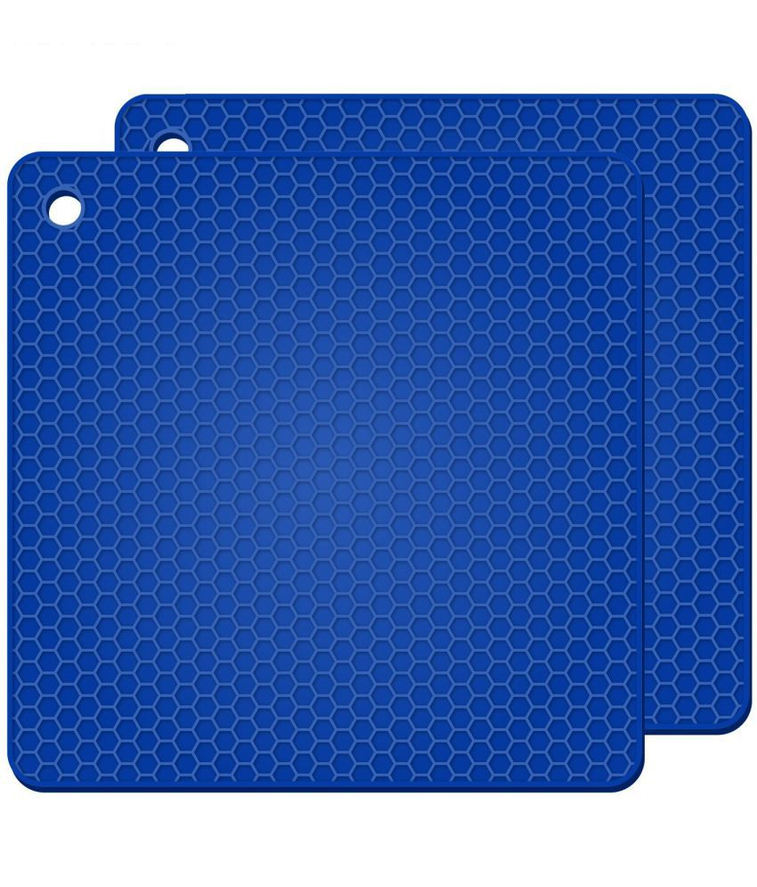 Square Silicone Hot Pads, Heat Insulation Table Mats For Family Use Silicone Pot Holders-Blue(Pack Of 2 )