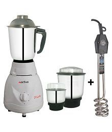 Activa Pluto 500 watt 3 Jar Mixer Grinder with Free Electric Immersion Heater