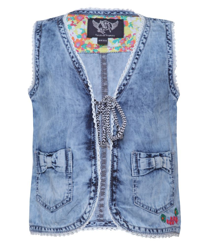 Tales & Stories Girls Cotton Waistcoat with 2 Front Pockets