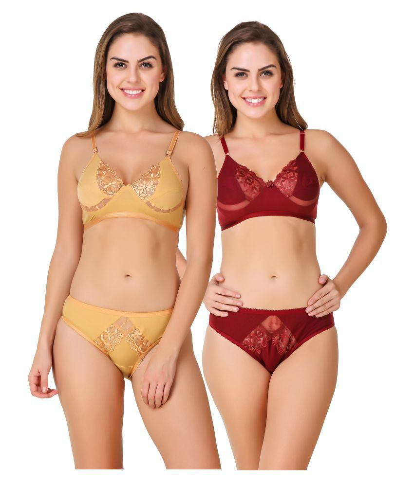 Buy In beauty Cotton Lycra Bra and Panty Set Online at Best Prices in India  - Snapdeal 791fa7c76