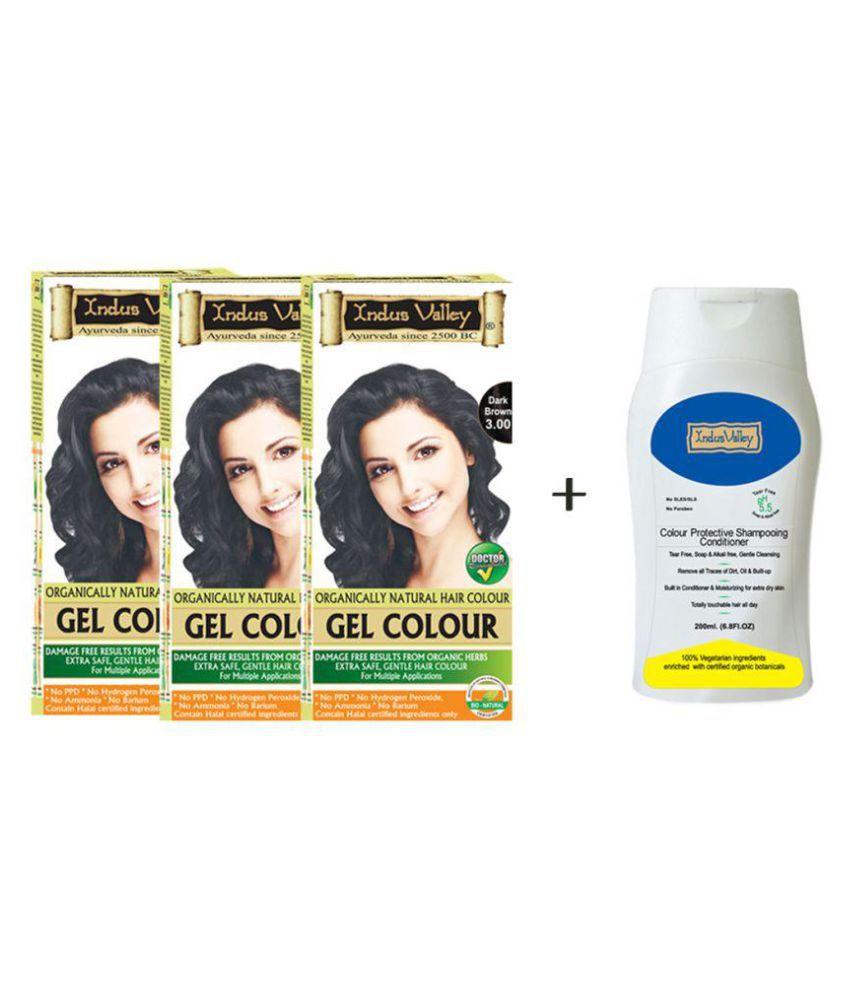 Indus Valley Gel Dark Brown with Free Shampoo Semi Permanent Hair Color Dark Brown Dark Brown 3.0 800 g Pack of 4
