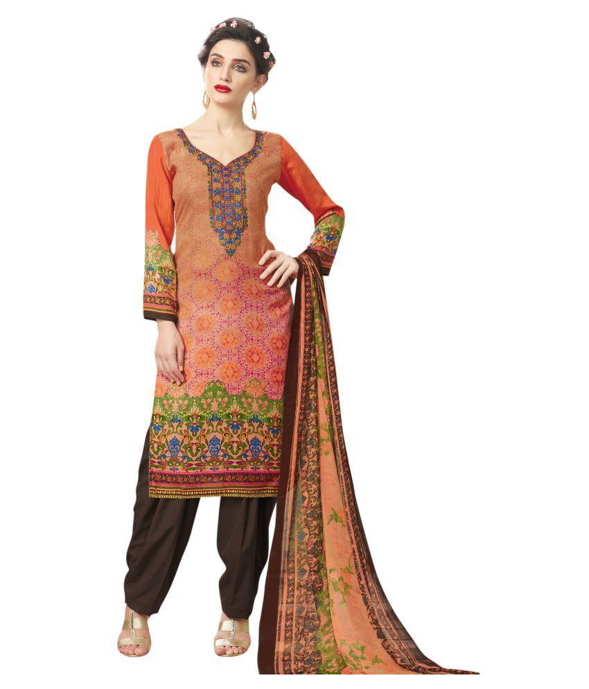 Stylee Lifestyle Orange Faux Pashmina Silk Dress Material
