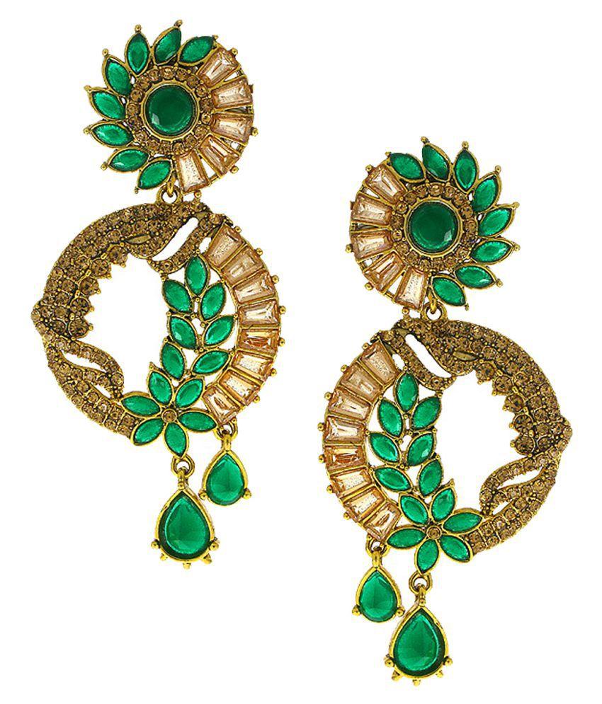 Anuradha Art Green Colour Studded Shimmering Stones Classy Designer Traditional Earrings For Women/Girls