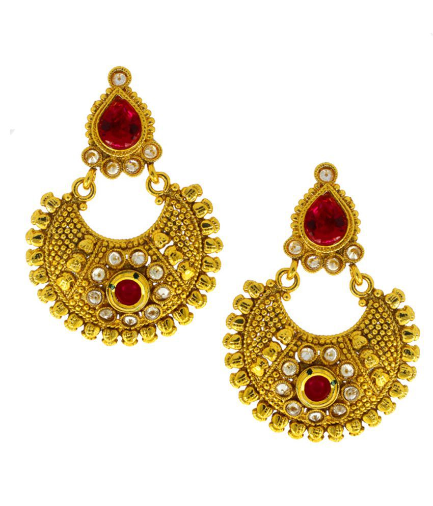 Anuradha Art Red Colour Very Classy Trendy Chandbali Styled Traditional Earrings For Women/Girls