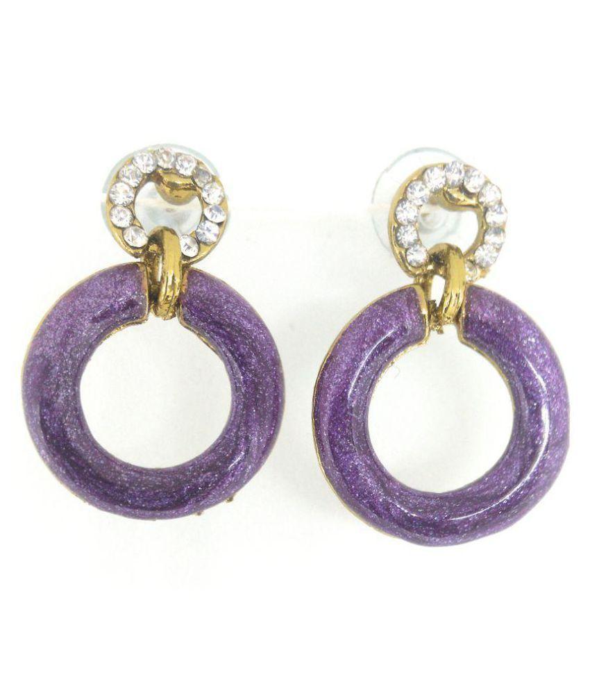 Designer Enameled Earring, Purple Color, Gold Tone, Stone Stud, Push Back Style
