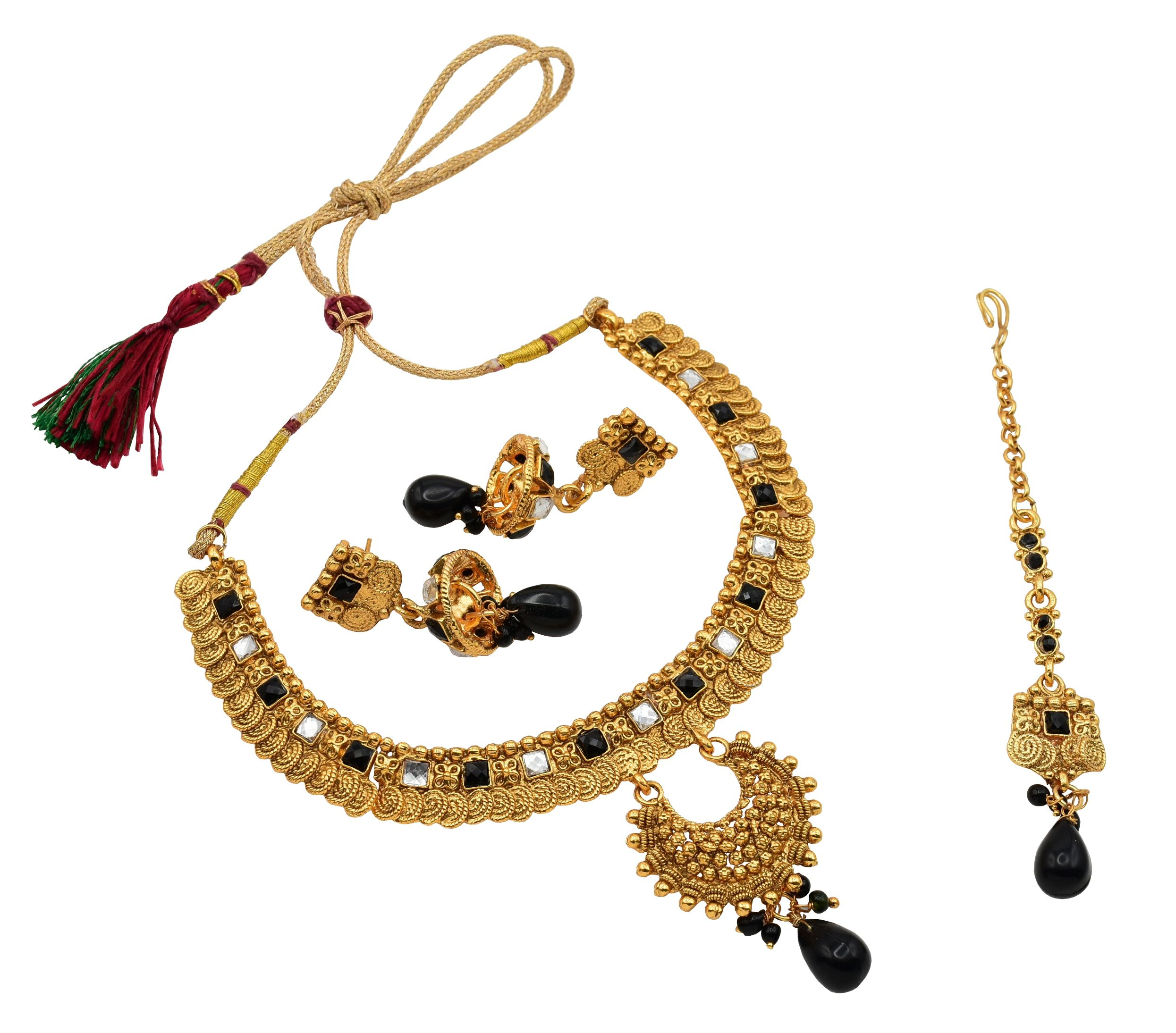 High Trendz Antique Gold Plated Fancy Party Wear Necklace Set with Earrings And Maang Tikka for Women