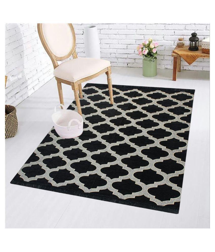 Kaizen Decor Black Velvet Carpet Geometrical 5X7 Ft.