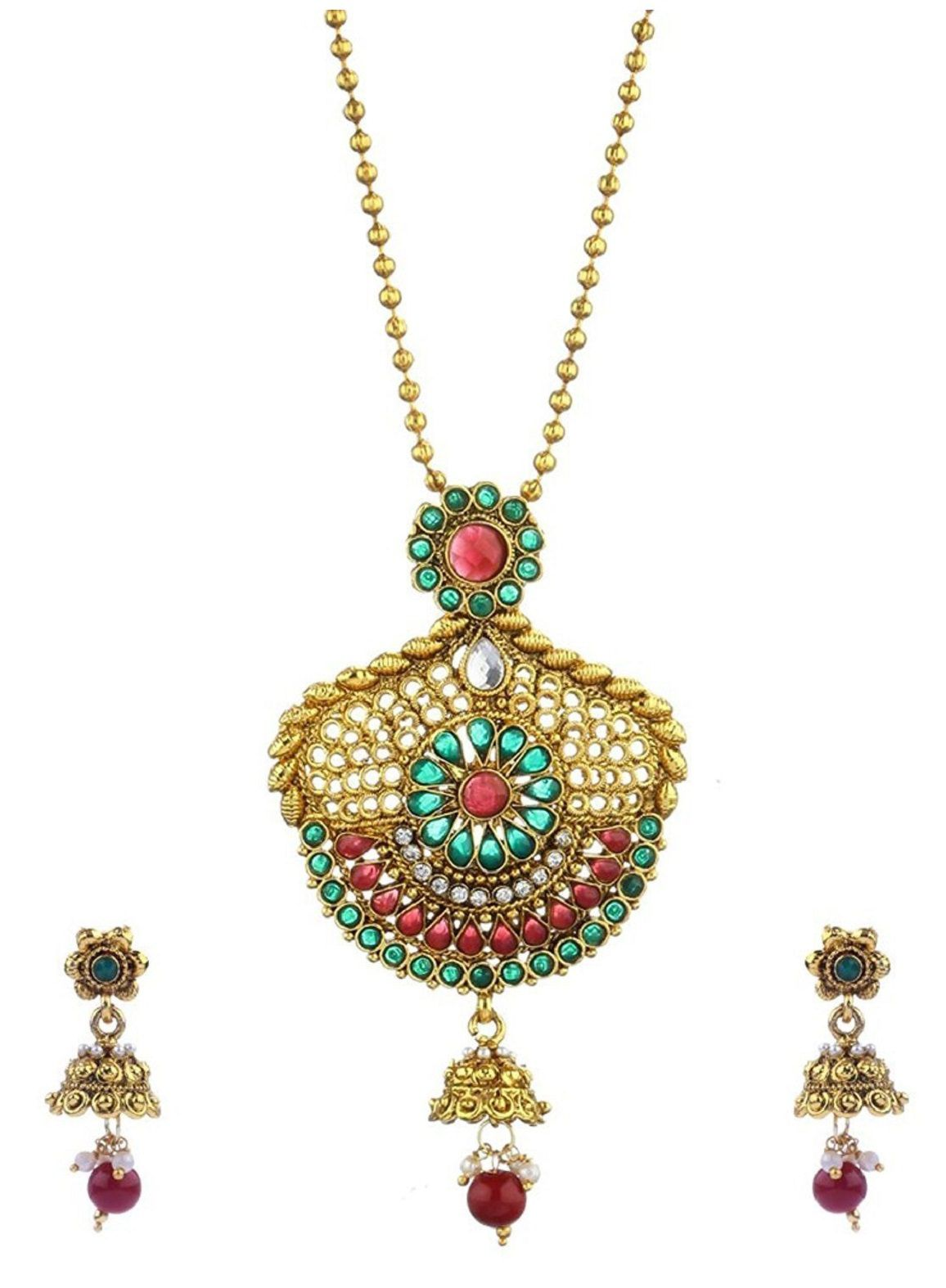 Aabhu Gold Plated Long Mor Pankh Design Pendant Necklace Jewllery Set Haram Mala With Earrings Jewellery For Women And Girl