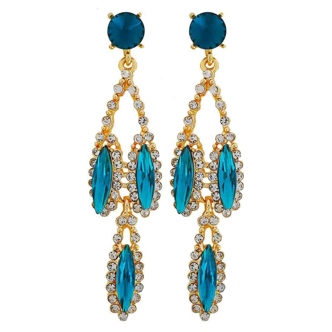 Maayra Party Earrings Alloy Dangler Drop Blue Classic Stones Jewellery