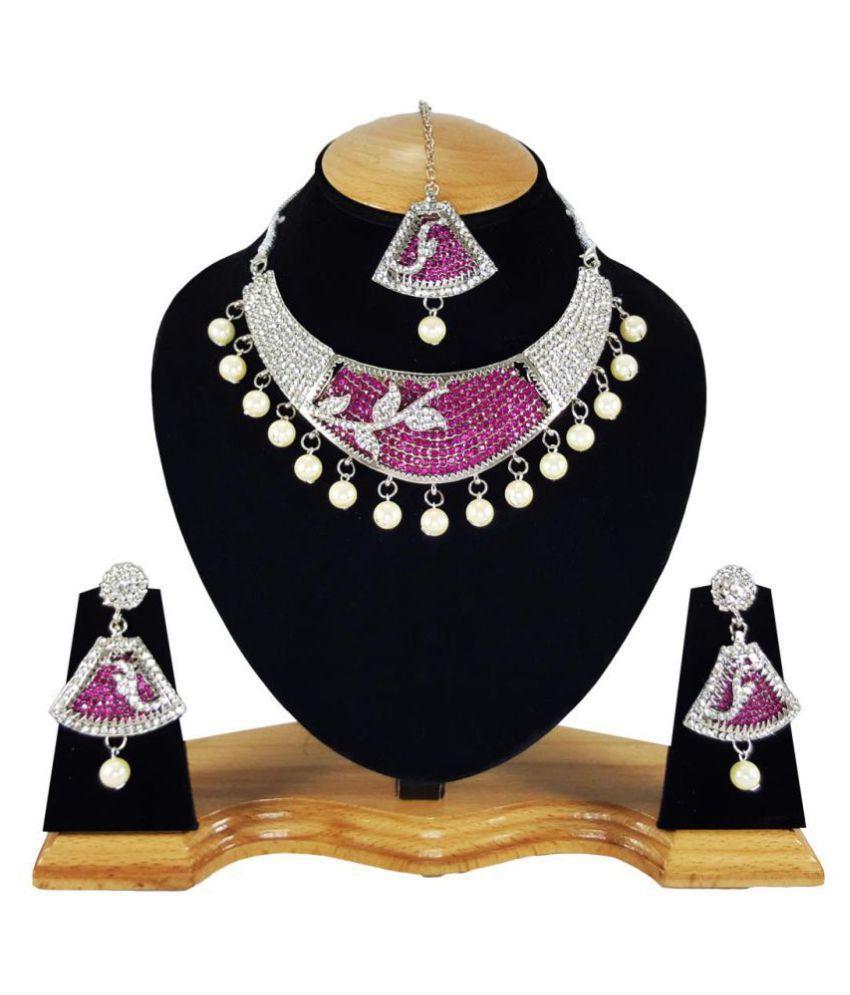 Pink Pearl Designer Silver Plated Kundan Zerconic Necklace Set Earrings