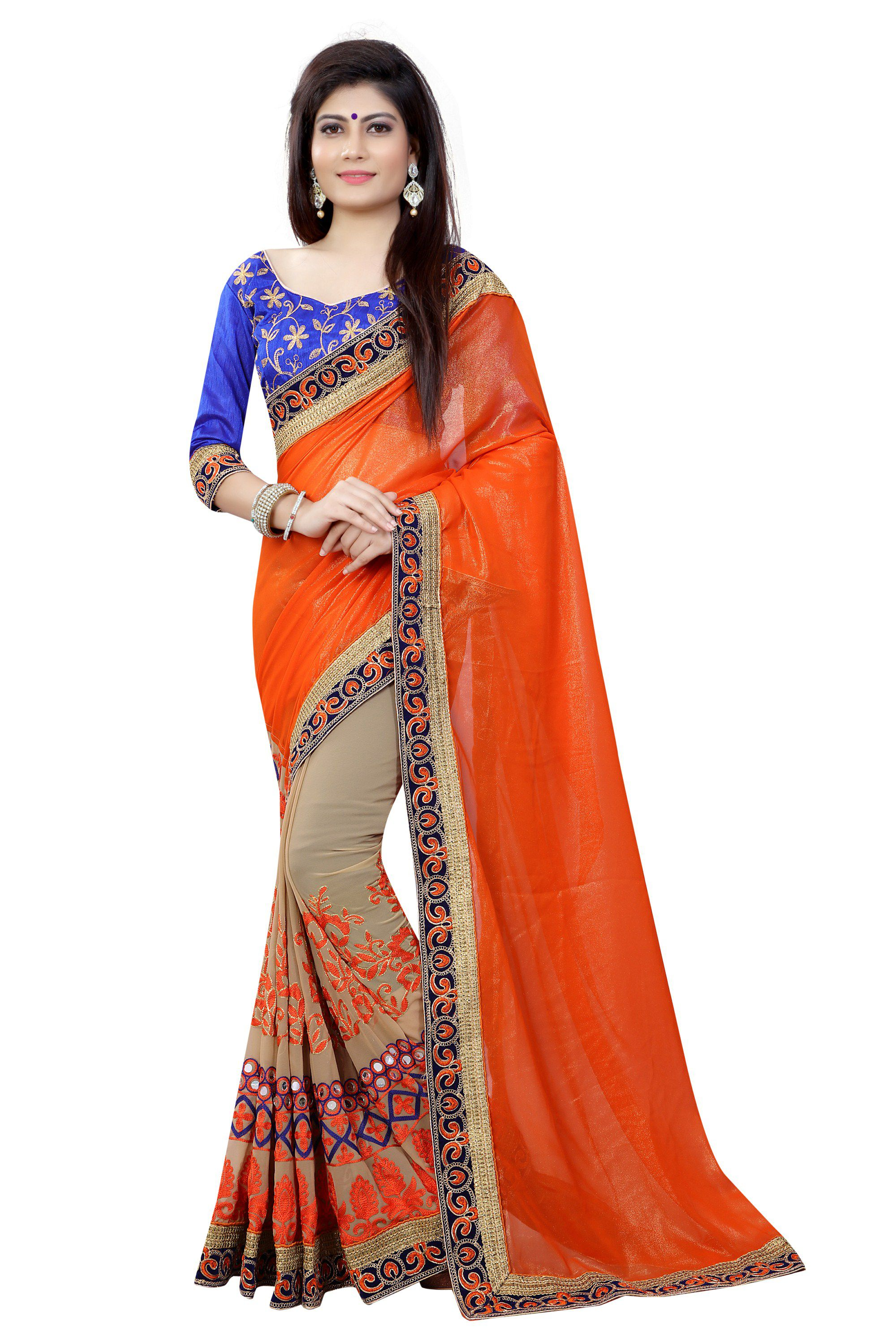 Mansvi Fashion Orange Georgette Saree