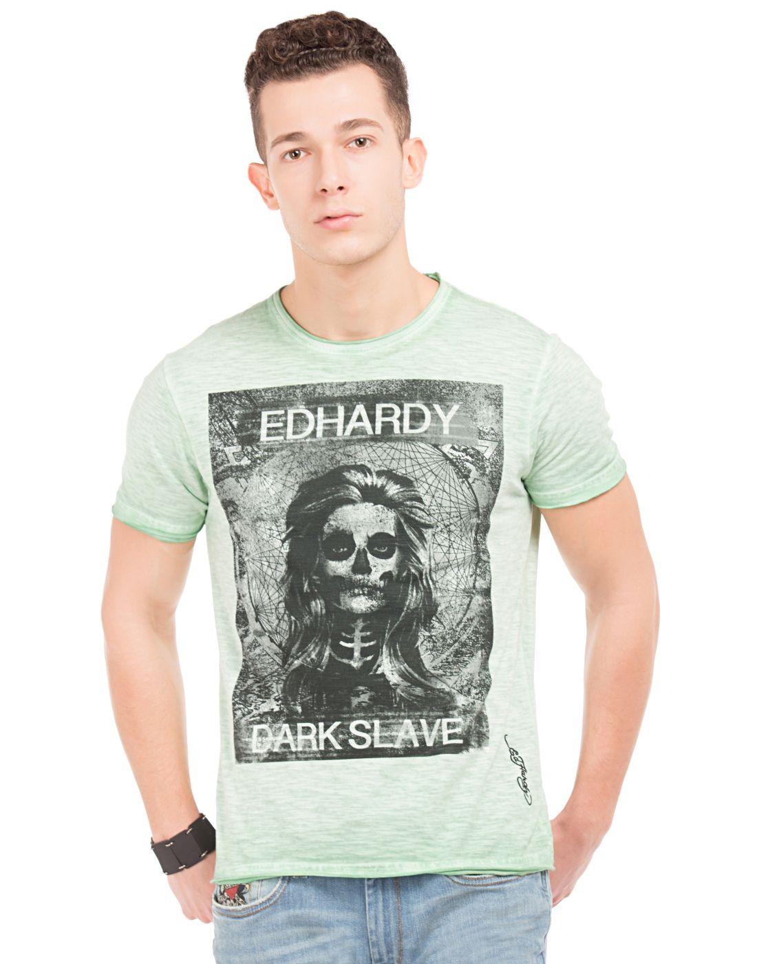 Ed Hardy Green Round T-Shirt