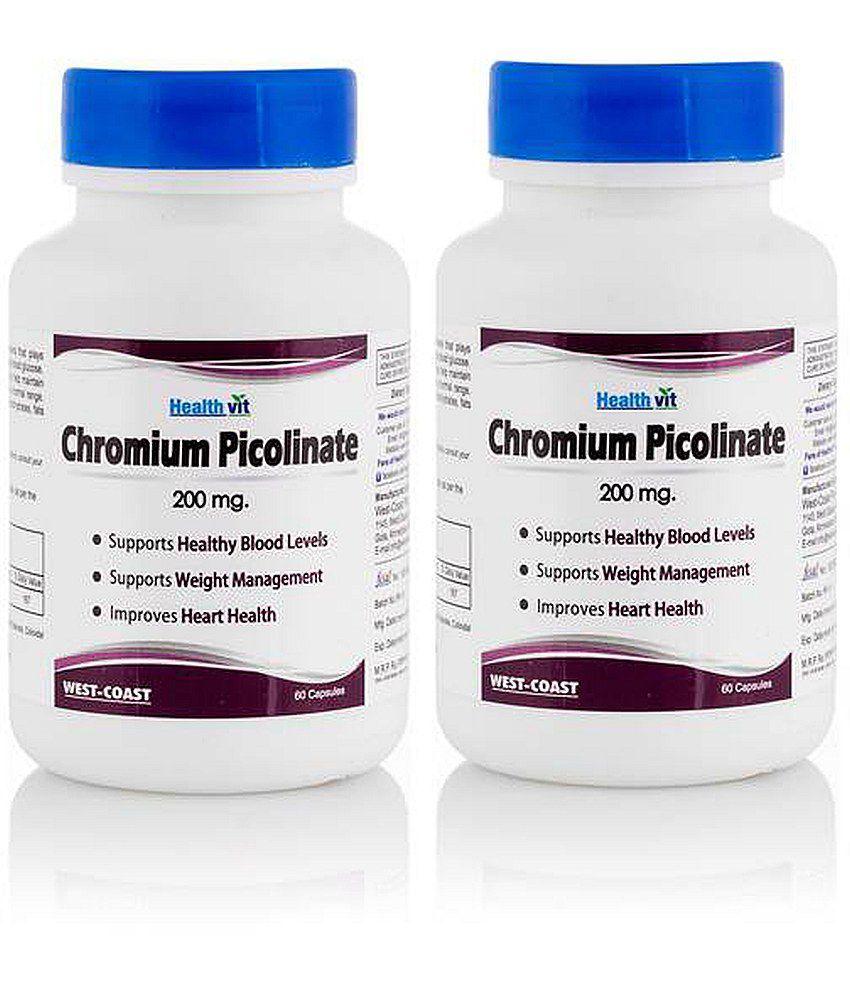 Healthvit Chromium Picolinate 200 mg 60 Capsules -Pack of 2