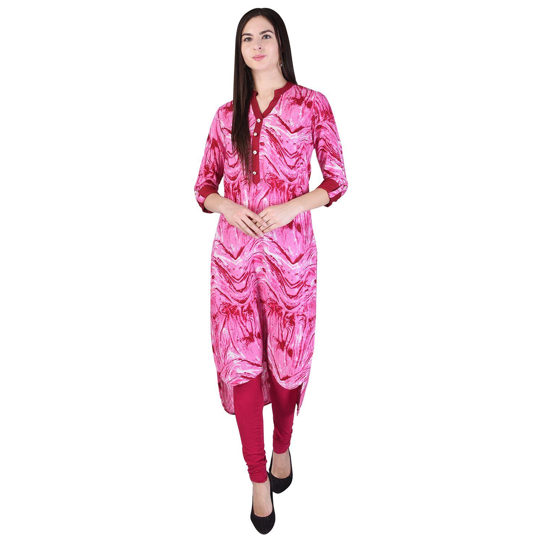 BADJATYA SAREES Pink Rayon Asymmetrical Hemline Kurti