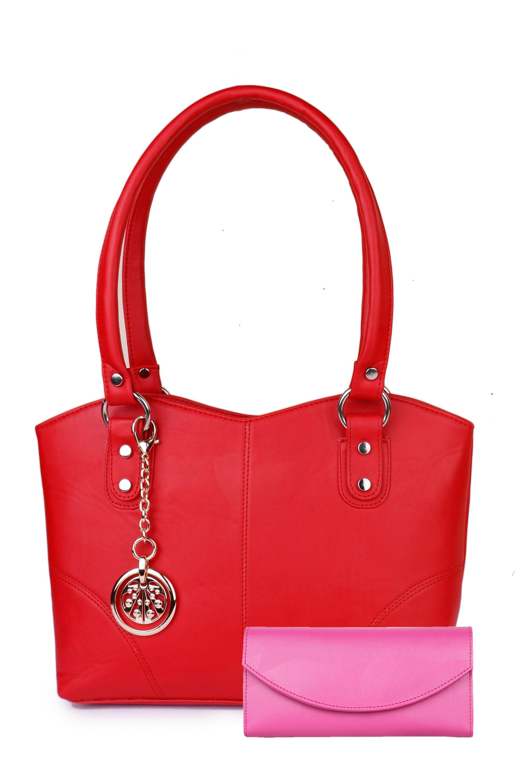 Glasy Red Faux Leather Shoulder Bag