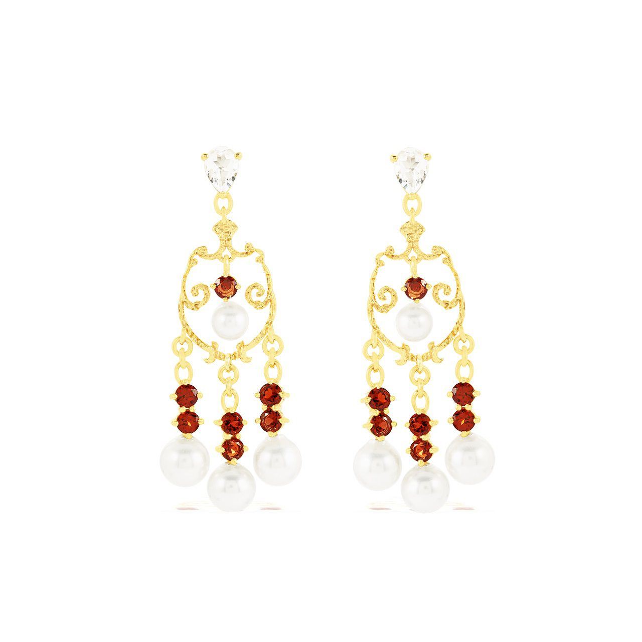 Gold Plated Red Garnet Silver Dangler Earrings with Pearl