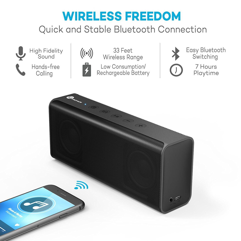 taotronics pulse x tt sk10 14w stereo wireless portable bluetooth