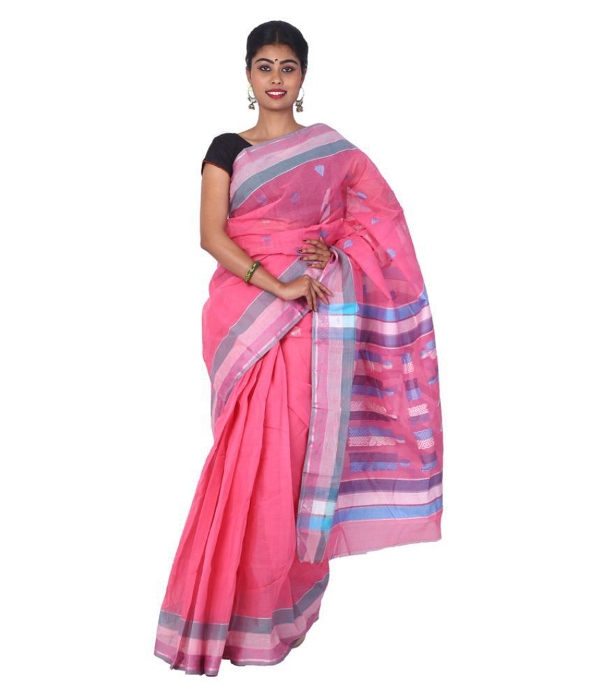 sanrocks global fashions Pink Bengal cotton Saree