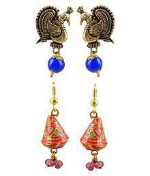 Amaira Women's Non Precious Brass Metal Dangle and Drop Earrings -(Set of 2)- Multi Color