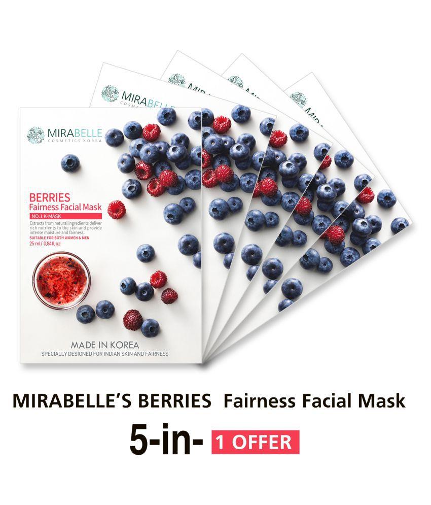 MIRABELLE KOREA Berries Fairness Face Mask Each 25 ml Pack of 5