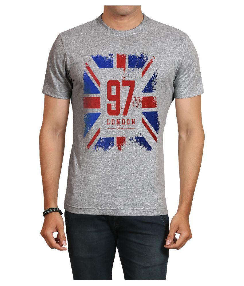 IND TWIST Grey Round T-Shirt Pack of 1