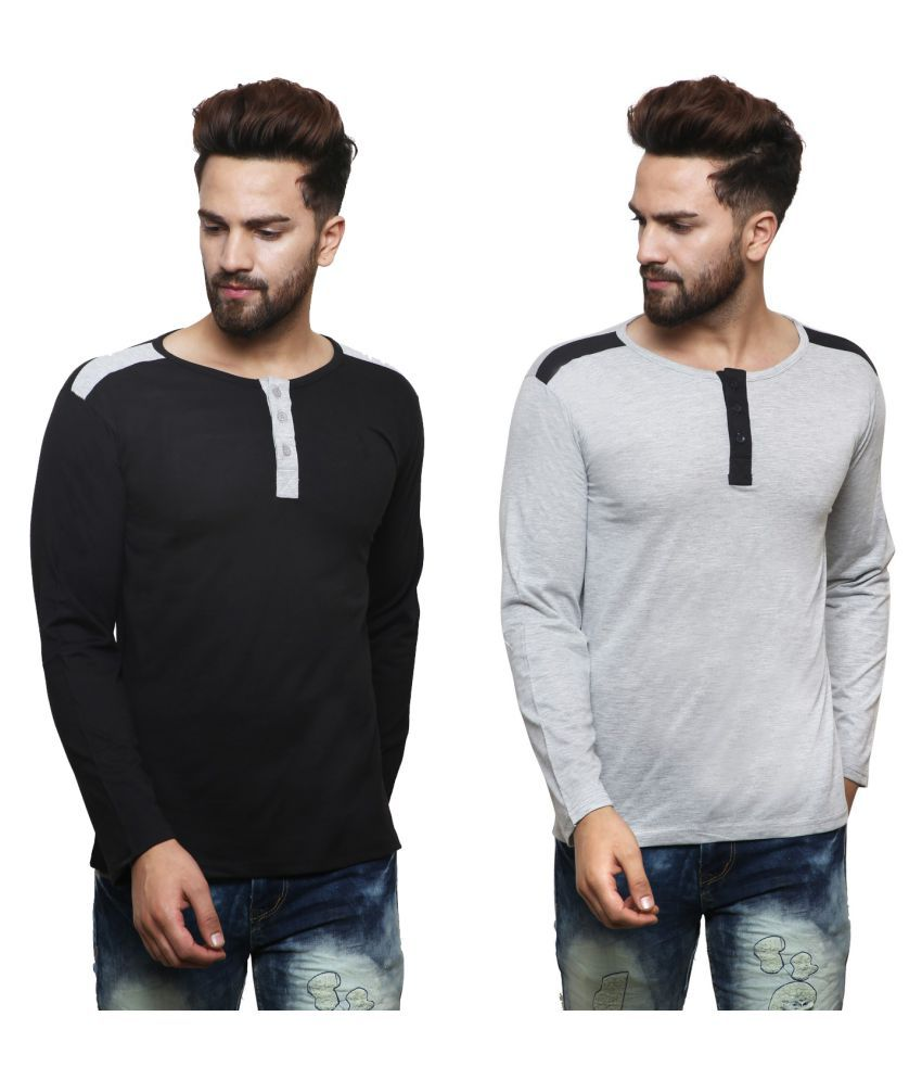 X-CROSS Multi Henley T-Shirt Pack of 2