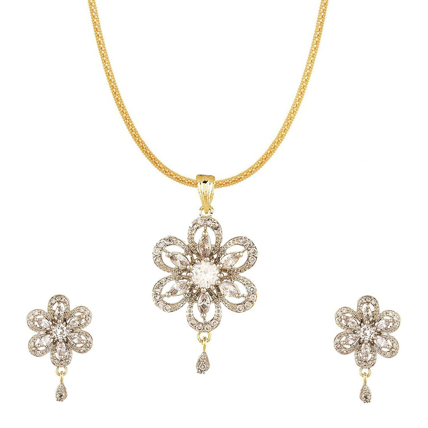 Aabhu Designer Solitaire Flower Pendant Necklace Jewellery set With Earring And Chain For Women And Girl