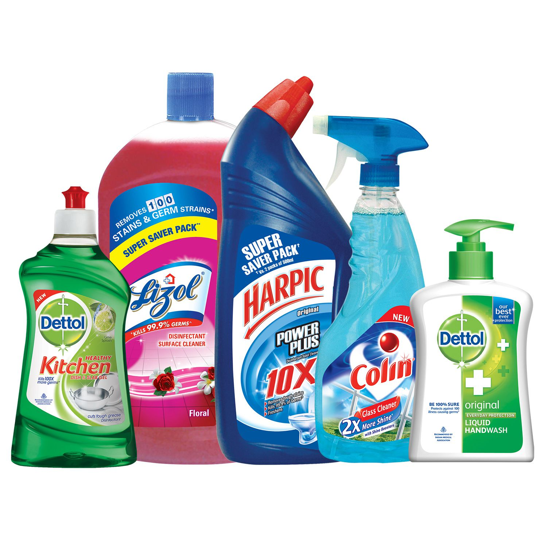 cleaning kit harpic original 1l lizol floral 2l colin 500ml dettol handwash original
