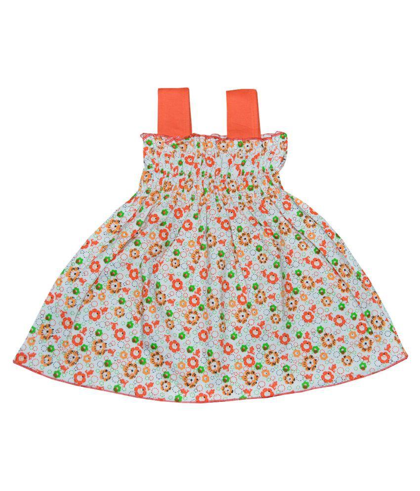 370ee3471c5e ... Elk Kids Baby Girl Cute Multicolour Cotton Frock Midi Top Pack of 5 ...