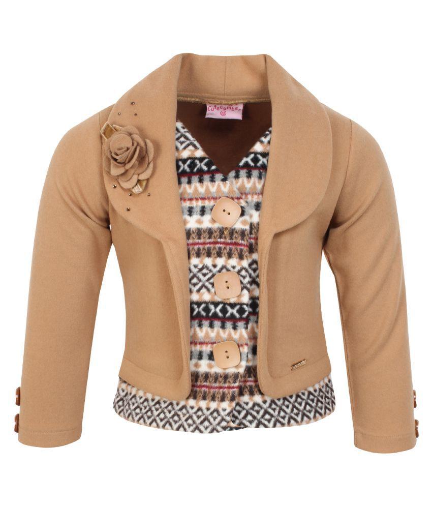 Cutecumber Girls Partywear Coat Fabric Winter Coat
