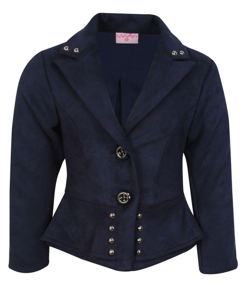 Cutecumber Girls Partywear Winter Waistline Suede Coat
