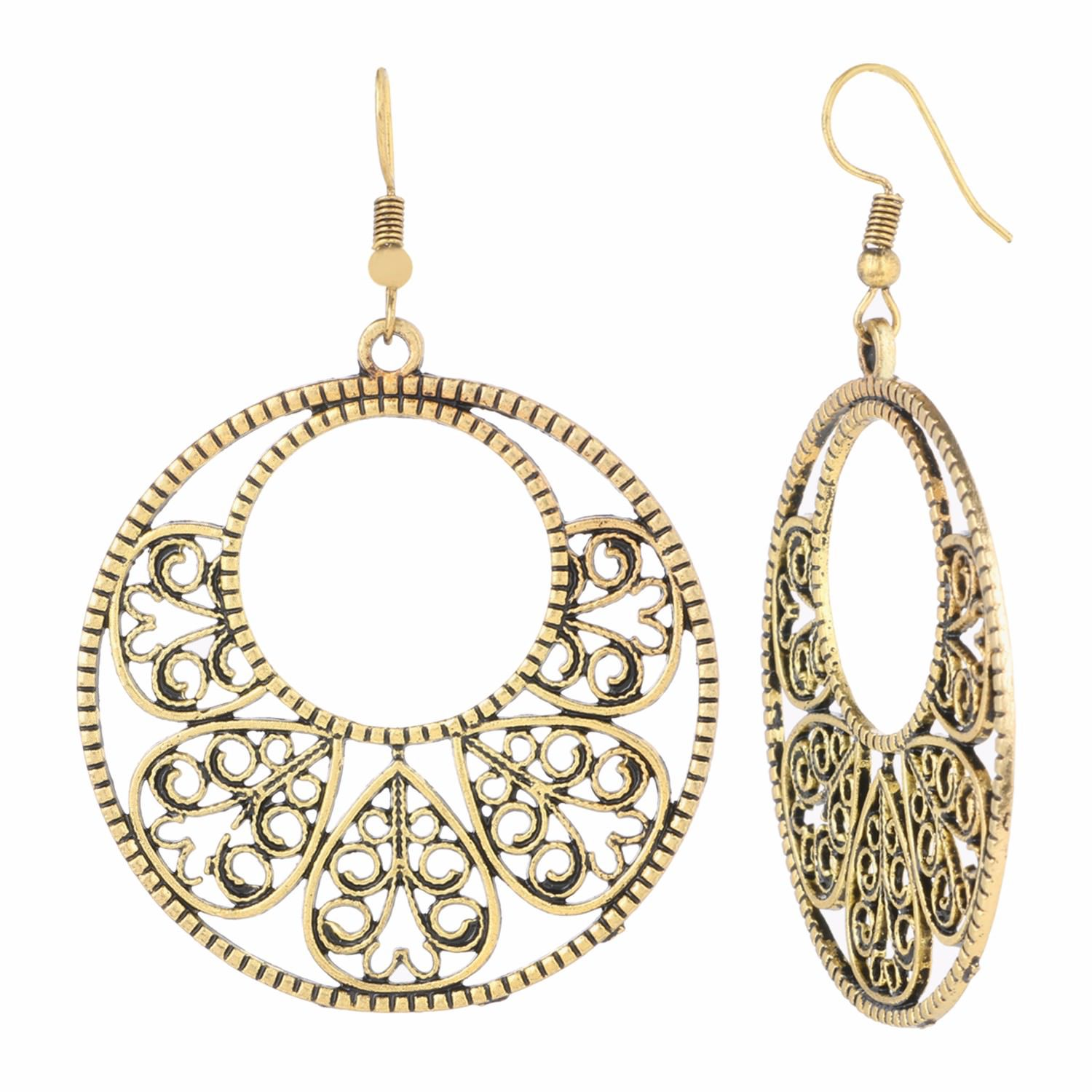 Archi Collection Designer Fancy Party Wear Oxidised Gold Plated Danglers Earrings Jewellery for Girls and Women