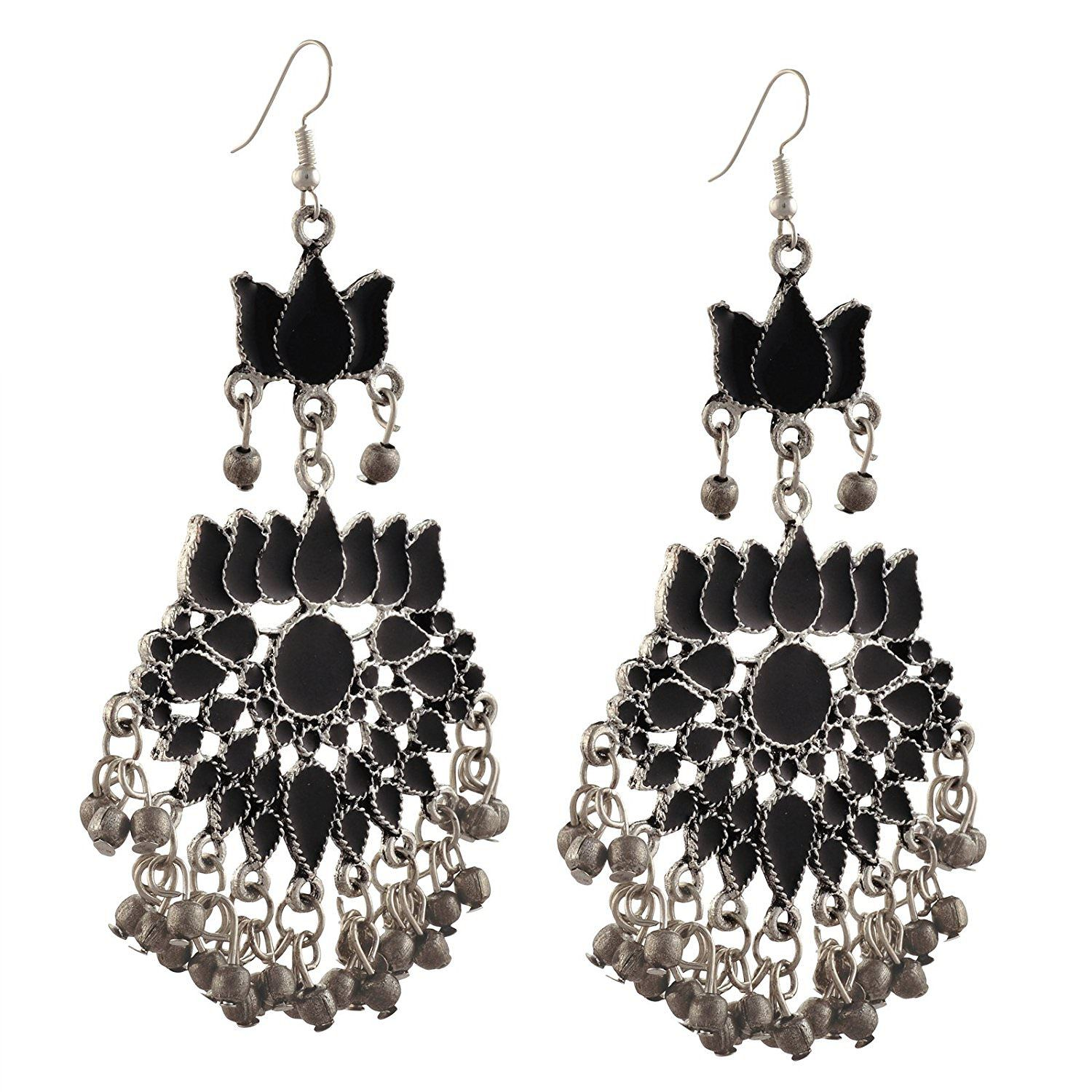 Archi Collection Designer Oxidised German Silver Plated Black Long