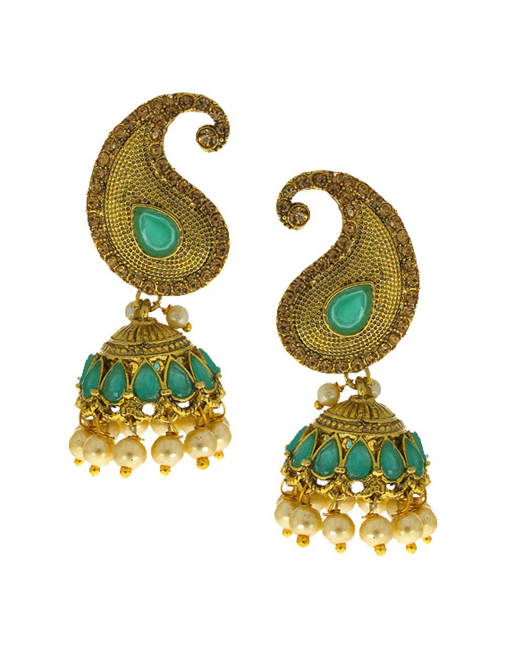 Anuradha Art Green Colour Mango Shape Adorable Designer Jhumki/Jhumkas Traditional Earrings For Women/Girls