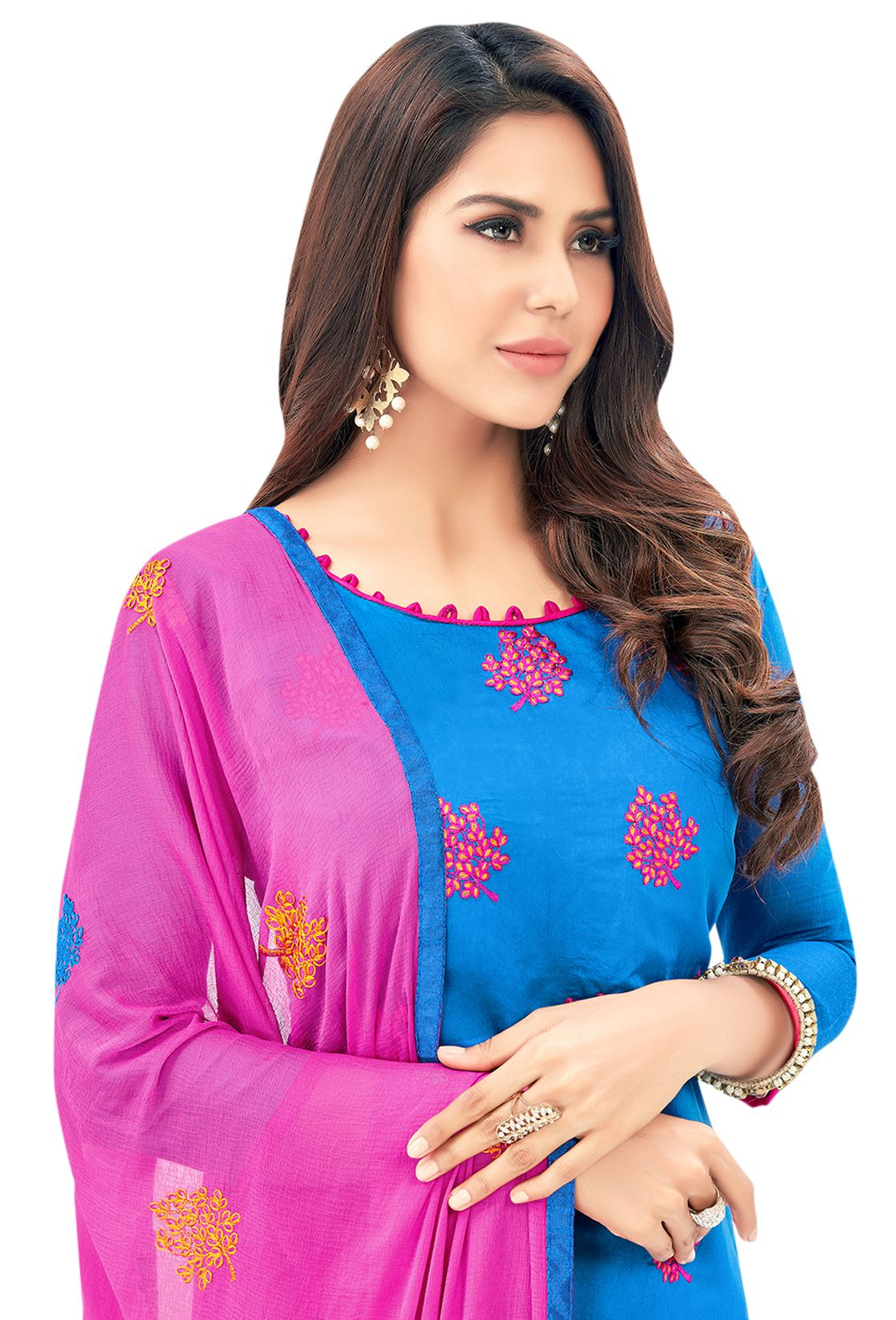 2a75c3d19af Blissta Pink and Blue Chanderi Dress Material - Buy Blissta Pink and ...