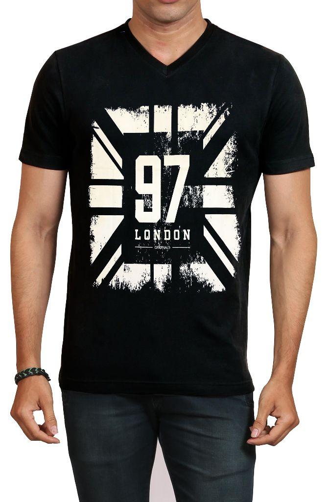IND TWIST Black V-Neck T-Shirt Pack of 1