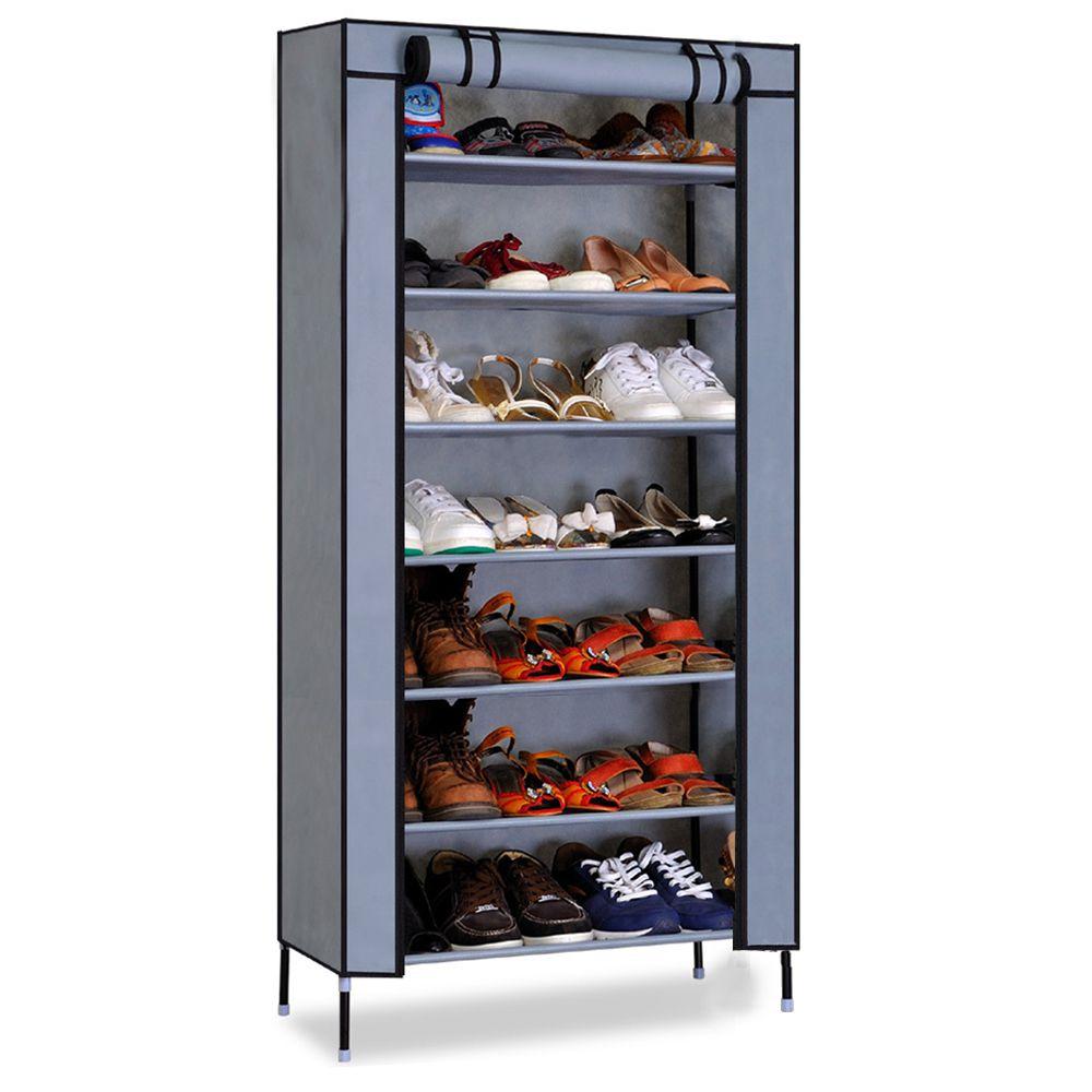 Kawachi Multipurpose Shelf Shoe Storage With 7 Layer Shoe Stand Rack-Gray