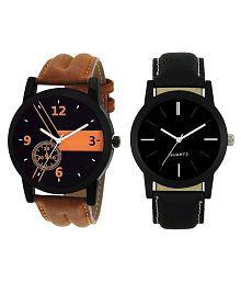 Maan International Black Analogue Men's & Boy's Watch Leather Strap LR-01-05
