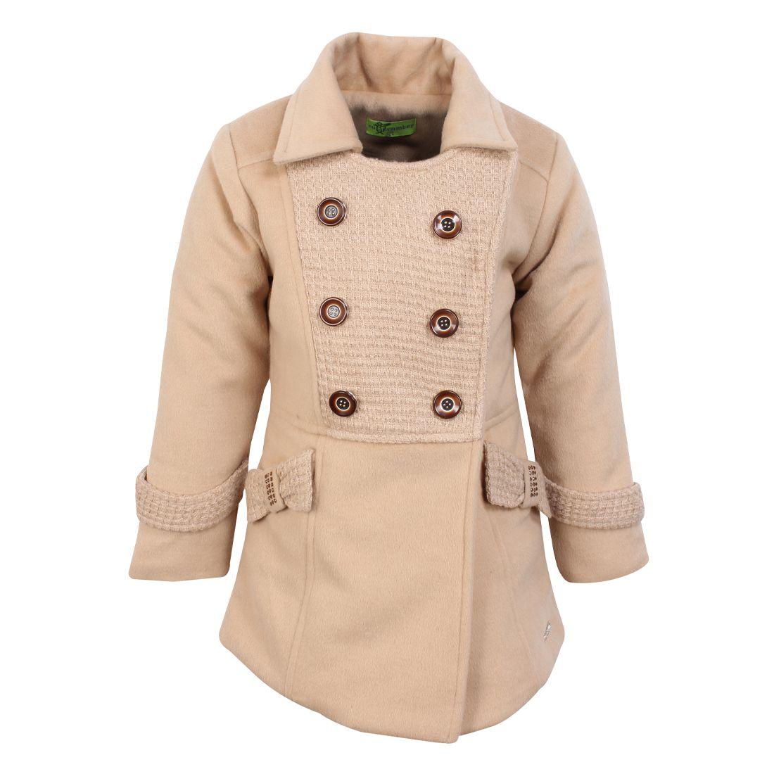 Cutecumber Girls Partywear Tweed Coat Fabric Winter Jacket