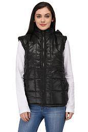 Triraj Polyester Blend Black Hooded Jackets